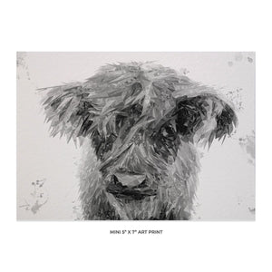 """Peeps"" The Highland Calf (B&W) 5x7 Mini Print - Andy Thomas Artworks"