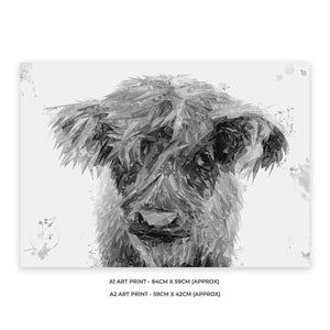 """Peeps"" The Highland Calf (B&W) A1 Unframed Art Print - Andy Thomas Artworks"