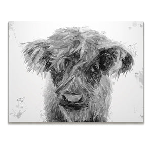 """Peeps"" The Highland Calf (B&W) Skinny Canvas Print"