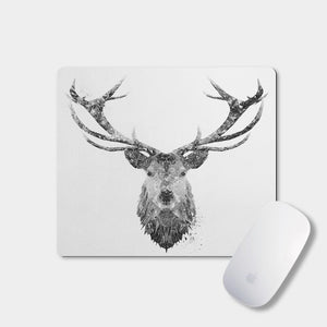 """The Stag"" (B&W) Mousemat - Andy Thomas Artworks"