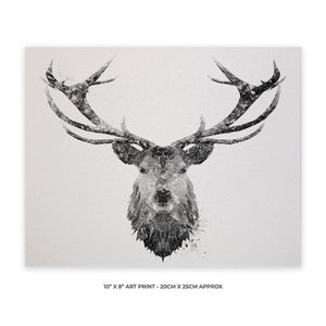 """The Stag"" (B&W) 10"" x 8"" Unframed Art Print - Andy Thomas Artworks"