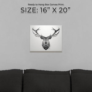 """The Stag"" (B&W) Small Canvas Print"
