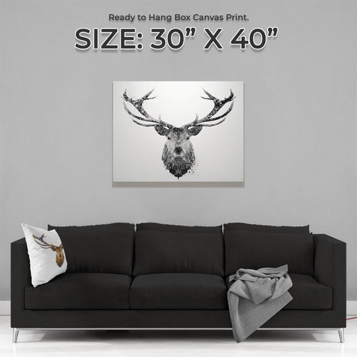 """The Stag"" (B&W) Large Canvas Print"