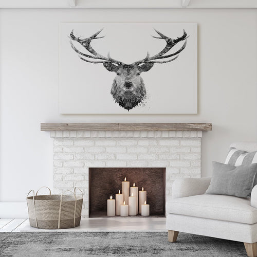 """The Stag"" (B&W) Massive Canvas Print"