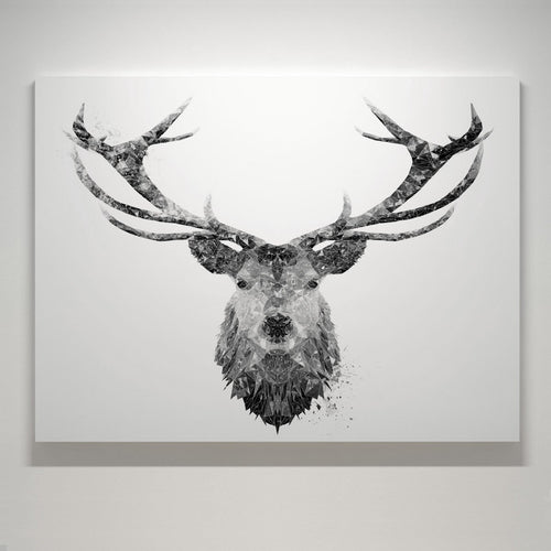 """The Stag"" (B&W) Medium Canvas Print"