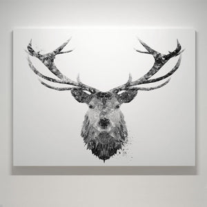 """The Stag"" (B&W) Small Canvas Print - Andy Thomas Artworks"