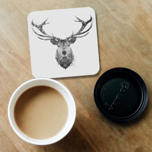 """The Stag"" (B&W) Coaster - Andy Thomas Artworks"
