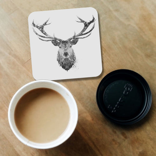 """The Stag"" (B&W) Coaster"