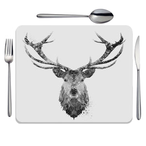 """The Stag"" (B&W) Placemat - Andy Thomas Artworks"