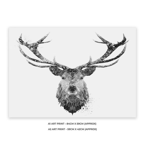 """The Stag"" (B&W) A1 Unframed Art Print"