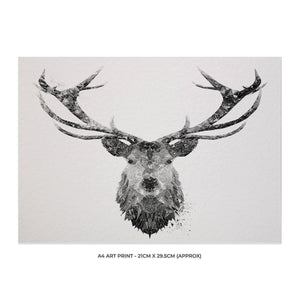 """The Stag"" (B&W) A4 Unframed Art Print - Andy Thomas Artworks"