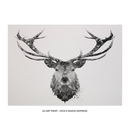 """The Stag"" (B&W) A4 Unframed Art Print"