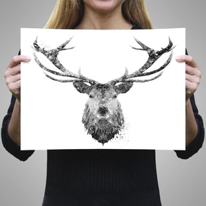 """The Stag"" (B&W) A3 Unframed Art Print - Andy Thomas Artworks"