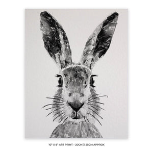 """The Hare"" (B&W) 10"" x 8"" Unframed Art Print - Andy Thomas Artworks"