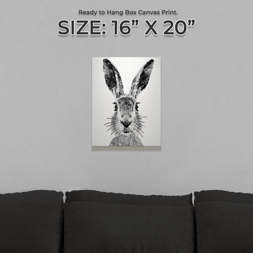 """The Hare"" (B&W) Small Canvas Print"