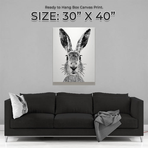 """The Hare"" (B&W) Large Canvas Print"