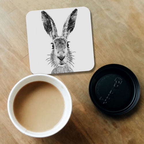 """The Hare"" (B&W) Coaster"