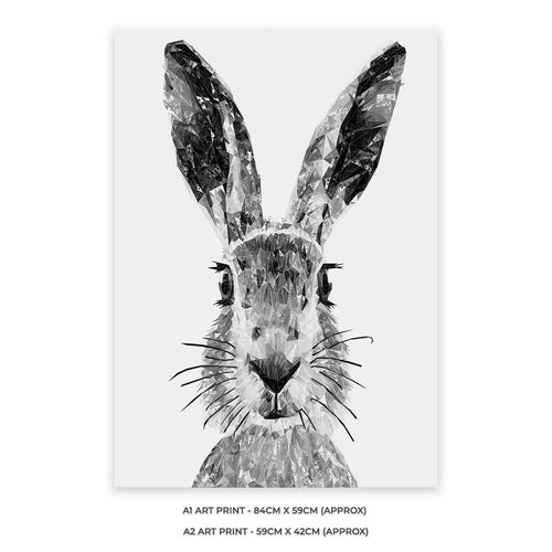 """The Hare"" (B&W) A1 Unframed Art Print"