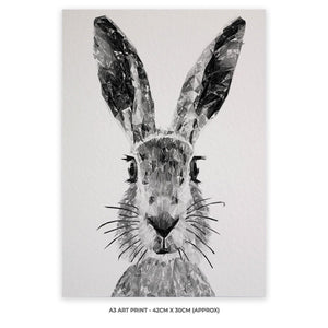 """The Hare"" (B&W) A3 Unframed Art Print - Andy Thomas Artworks"