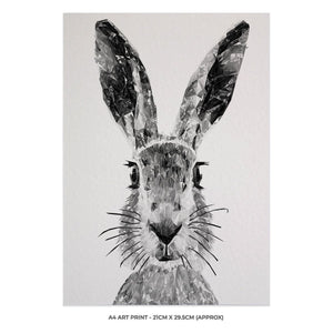 """The Hare"" (B&W) A4 Unframed Art Print - Andy Thomas Artworks"