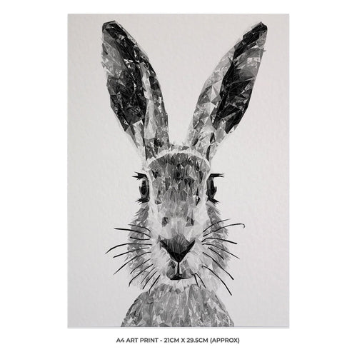 """The Hare"" (B&W) A4 Unframed Art Print"