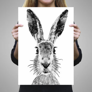 """The Hare"" (B&W) A2 Unframed Art Print - Andy Thomas Artworks"