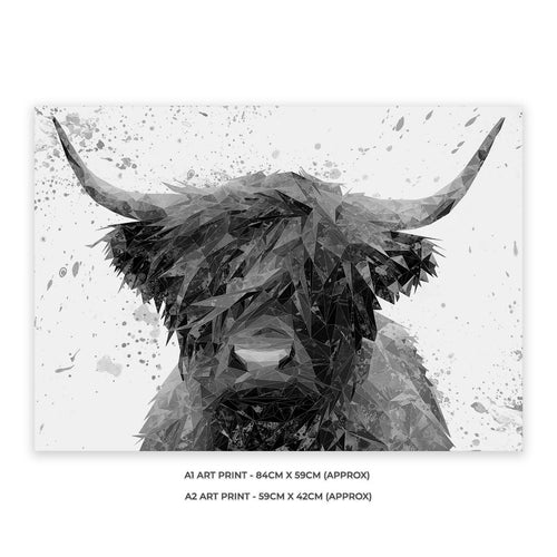"""The Highland"" Highland Cow Art (B&W) A1 Unframed Art Print"