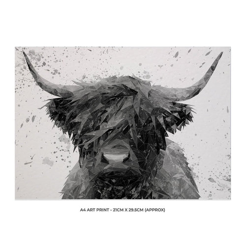 """The Highland"" Highland Cow Art (B&W) A4 Unframed Art Print"