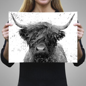 """The Highland"" Highland Cow Art (B&W) A3 Unframed Art Print - Andy Thomas Artworks"