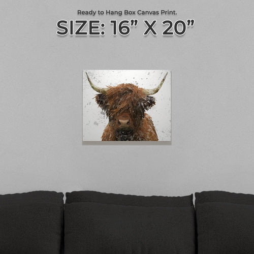 """The Highland"" Highland Cow Art (Grey Background) Small Canvas Print"