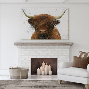 """The Highland"" Highland Cow Art (Grey Background) Massive Canvas Print - Andy Thomas Artworks"