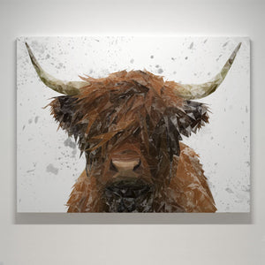"""The Highland"" Highland Cow Art (Grey Background) Medium Canvas Print - Andy Thomas Artworks"