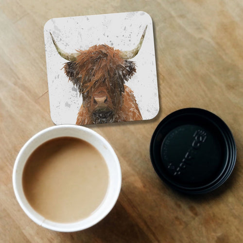"""The Highland"" Highland Cow Art (Grey Background) Coaster"
