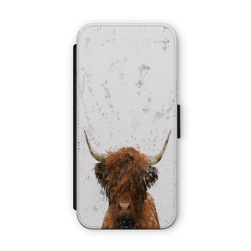"""The Highland"" Highland Cow Art (Grey Background) Flip Phone Case"