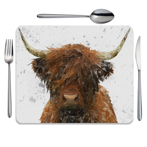 """The Highland"" Highland Cow Art (Grey Background) Placemat"