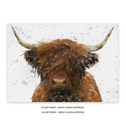 """The Highland"" Highland Cow Art (Grey Background) A1 Unframed Art Print"