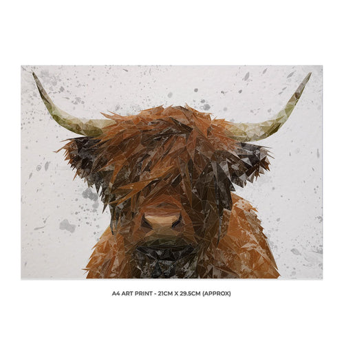 """The Highland"" Highland Cow Art (Grey Background) A4 Unframed Art Print"