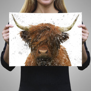 """The Highland"" Highland Cow Art (Grey Background) A3 Unframed Art Print - Andy Thomas Artworks"