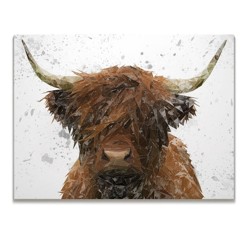 """The Highland"" Highland Cow Art (Grey Background) Skinny Canvas Print"