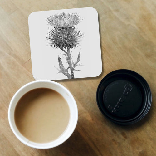 """The Thistle"" (B&W) Coaster"