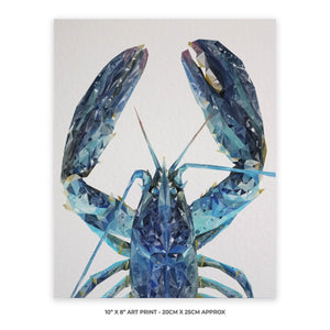 """The Blue Lobster"" 10"" x 8"" Unframed Art Print - Andy Thomas Artworks"