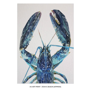 """The Blue Lobster"" A4 Unframed Art Print - Andy Thomas Artworks"