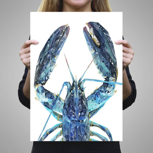 """The Blue Lobster"" A1 Unframed Art Print - Andy Thomas Artworks"