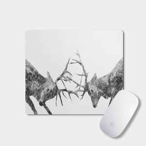 """The Showdown"" Rutting Stags (B&W) Mousemat - Andy Thomas Artworks"