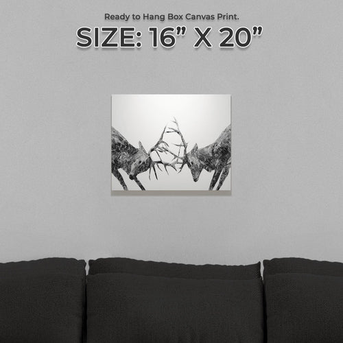 """The Showdown"" Rutting Stags (B&W) Small Canvas Print"