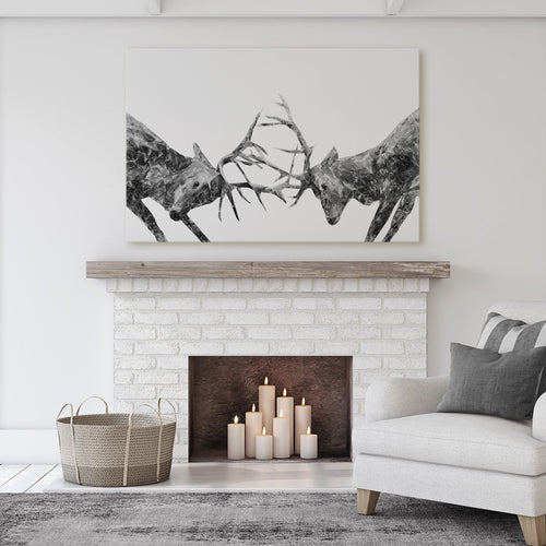 """The Showdown"" Rutting Stags (B&W) Massive Canvas Print"