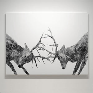 """The Showdown"" Rutting Stags (B&W) Canvas Print - Andy Thomas Artworks"
