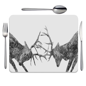 """The Showdown"" Rutting Stags (B&W) Placemat - Andy Thomas Artworks"