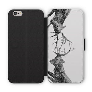"""The Showdown"" Rutting Stags (B&W) Flip Phone Case - Andy Thomas Artworks"