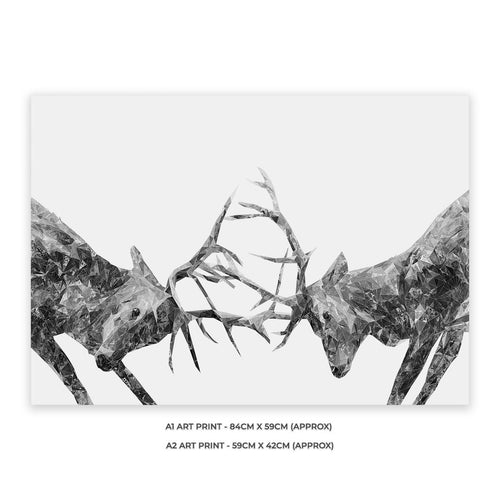 """The Showdown"" Rutting Stags (B&W) A2 Unframed Art Print"